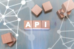 API integration building concept with blocks